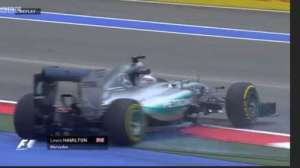 Lewis Hamilton spun his Mercedes at the penultimate corner at the end of FP1
